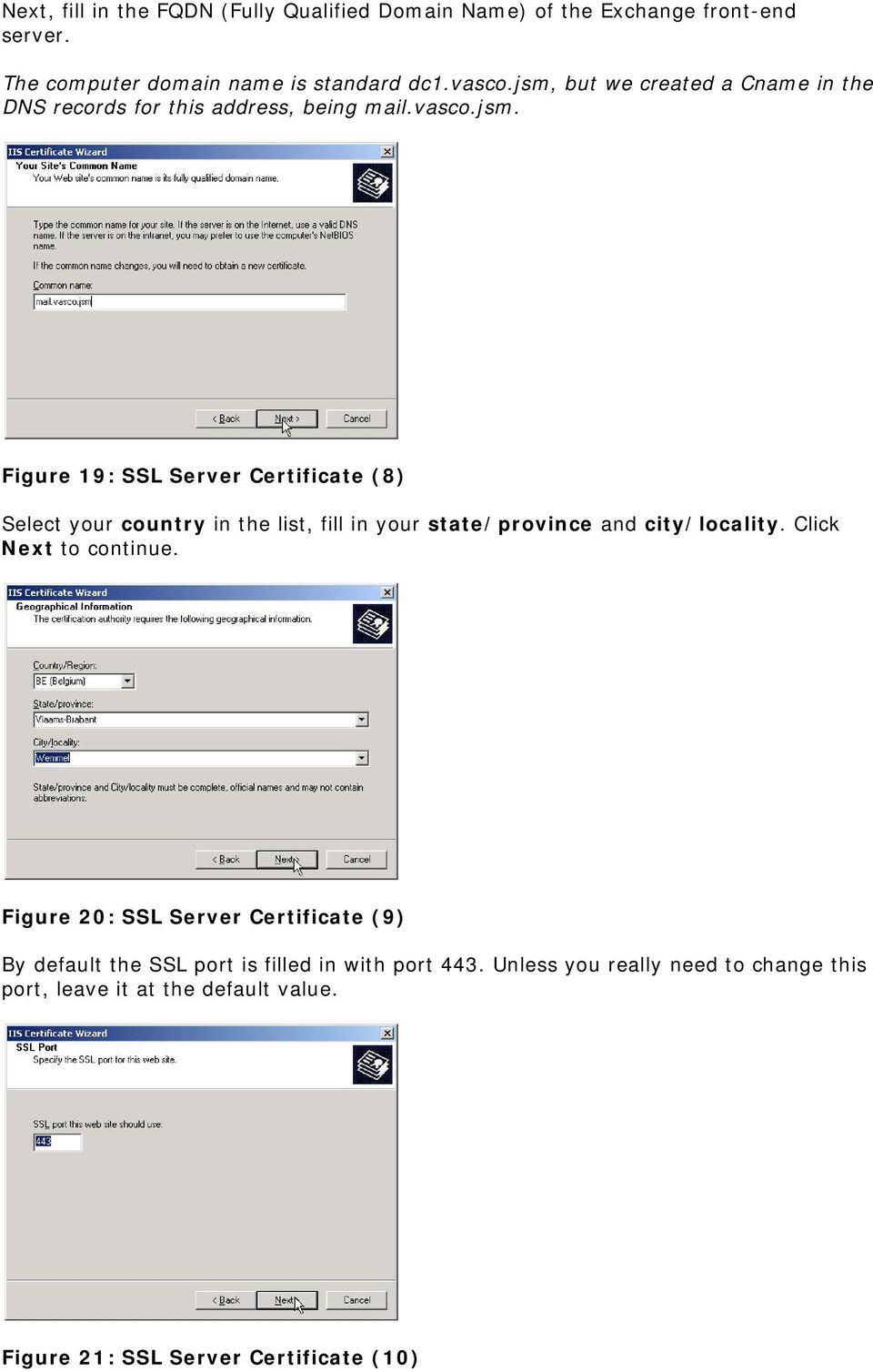 Click Next to continue. Figure 20: SSL Server Certificate (9) By default the SSL port is filled in with port 443.