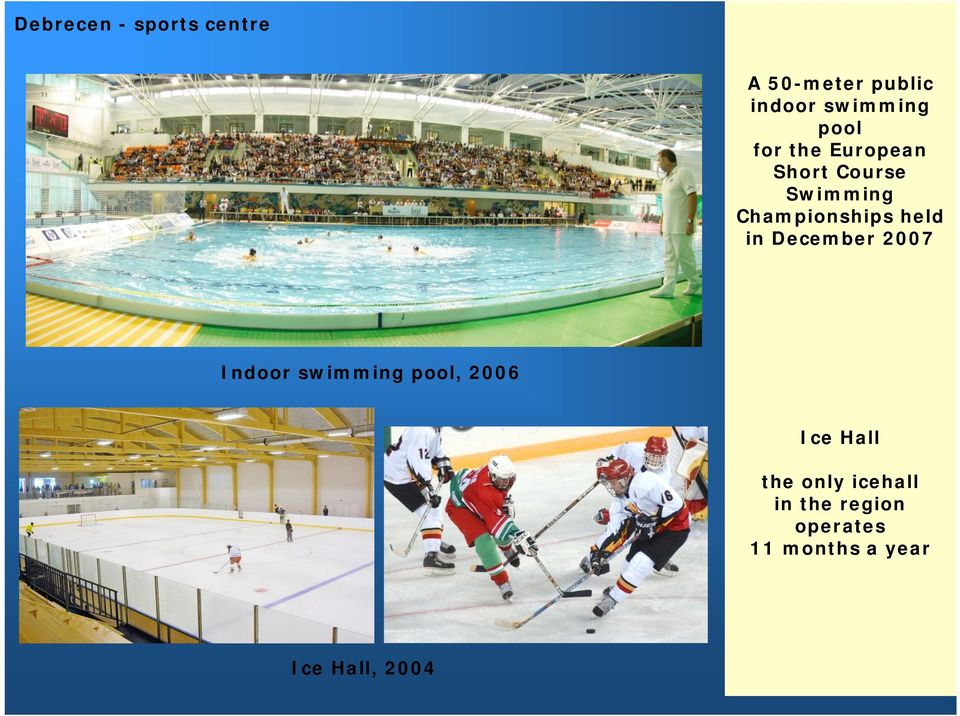 held in December 2007 Indoor swimming pool, 2006 Ice Hall the