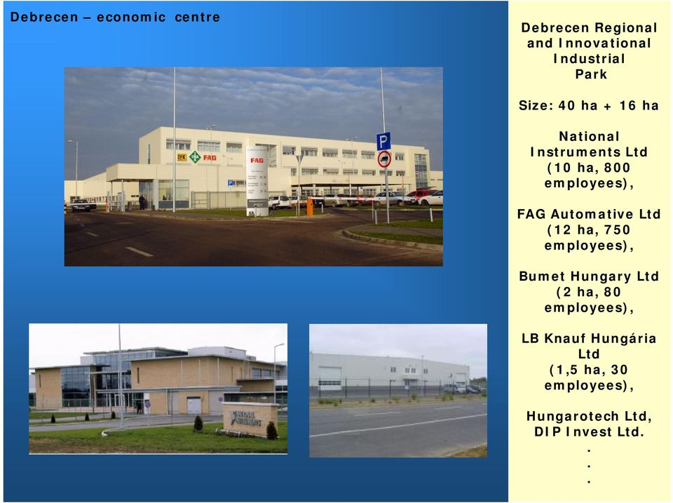 Automative Ltd (12 ha, 750 employees), Bumet Hungary Ltd (2 ha, 80