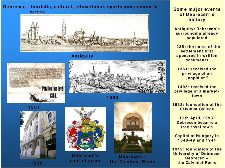 received the privilege of a markettown 1361 1538: foundation of the Calvinist College 11th April, 1693: Debrecen became a free royal town Capital of