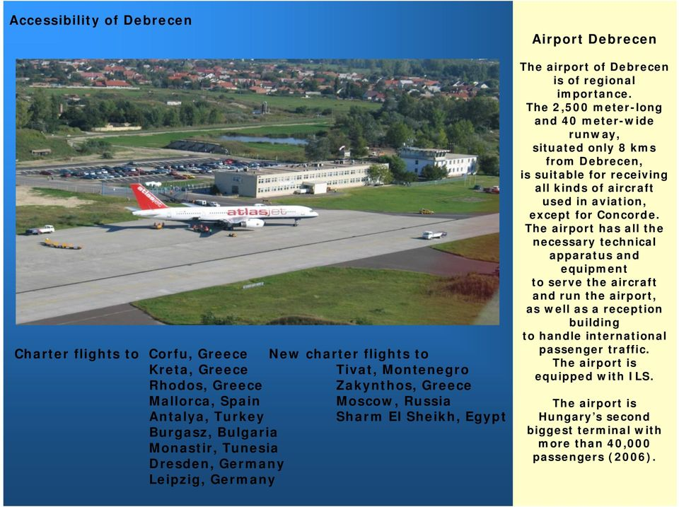 The 2,500 meter-long and 40 meter-wide runway, situated only 8 kms from Debrecen, is suitable for receiving all kinds of aircraft used in aviation, except for Concorde.