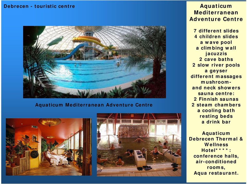 different massages mushroomand neck showers sauna centre: 2 Finnish saunas 2 steam chambers a cooling bath resting