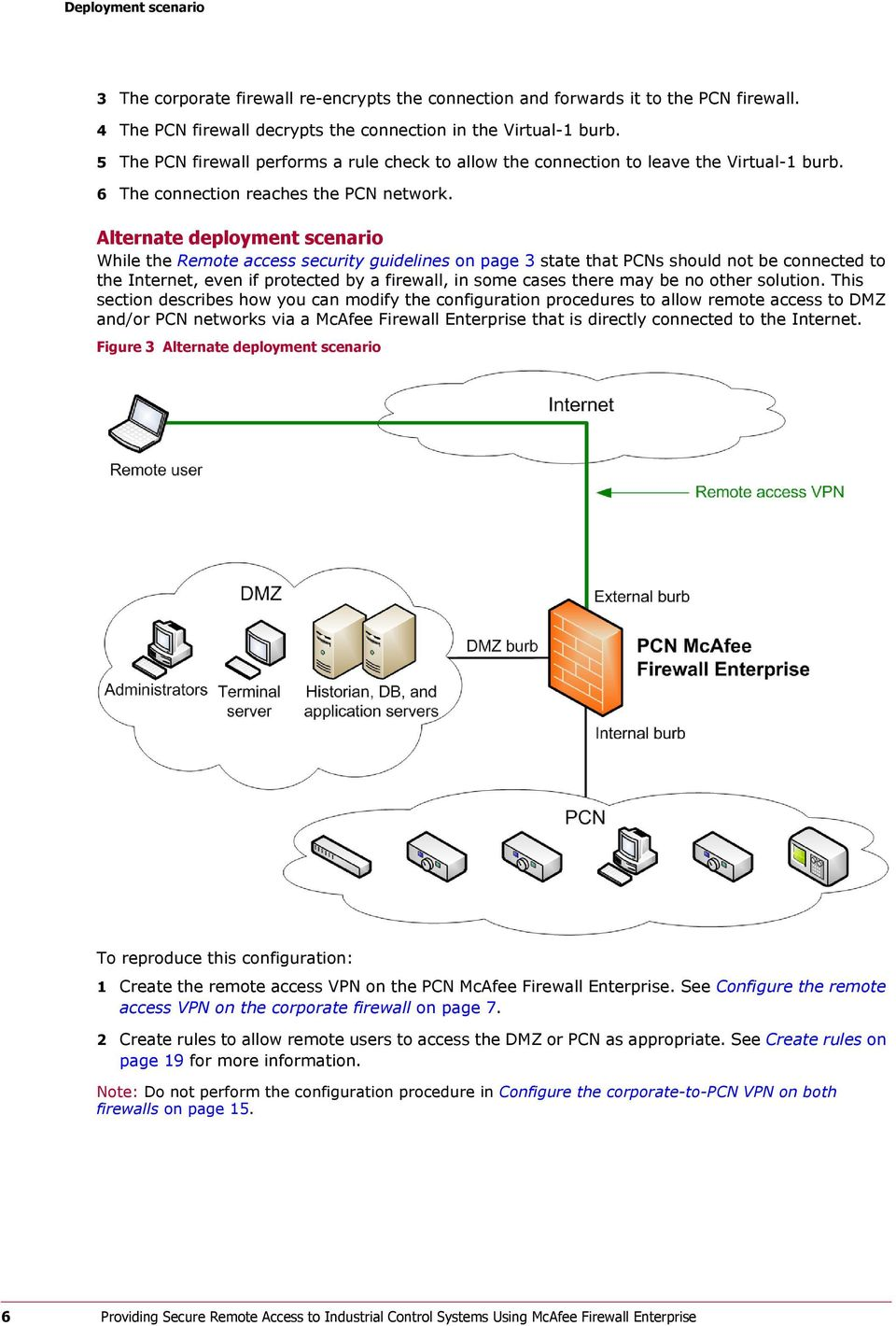 Alternate deployment scenario While the Remote access security guidelines on page 3 state that PCNs should not be connected to the Internet, even if protected by a firewall, in some cases there may