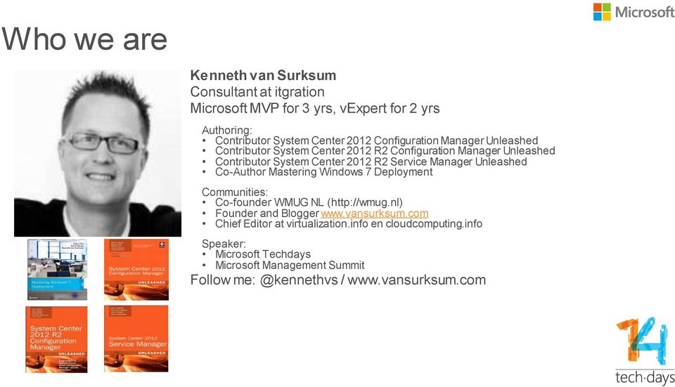 Manager Unleashed Co-Author Mastering Windows 7 Deployment Communities: Co-founder WMUG NL (http://wmug.nl) Founder and Blogger www.vansurksum.