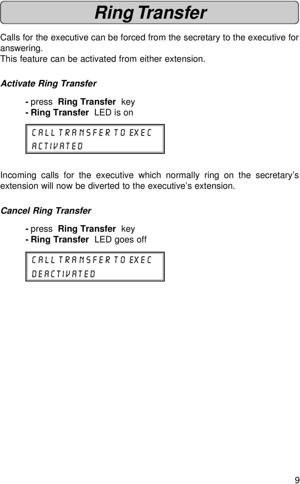 Activate Ring Transfer - press Ring Transfer key - Ring Transfer LED is on CALL TRANSFER TO EXEC ACTIVATED Incoming calls for