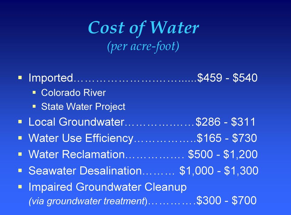 $286 $311 Water Use Efficiency..$165 $730 Water Reclamation.