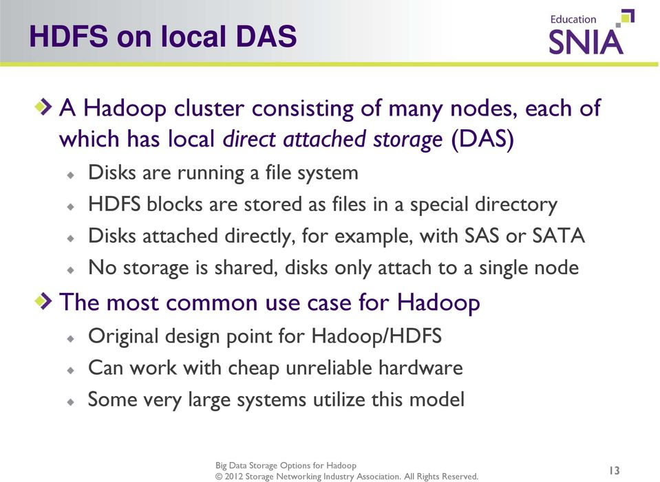 example, with SAS or SATA No storage is shared, disks only attach to a single node The most common use case for Hadoop
