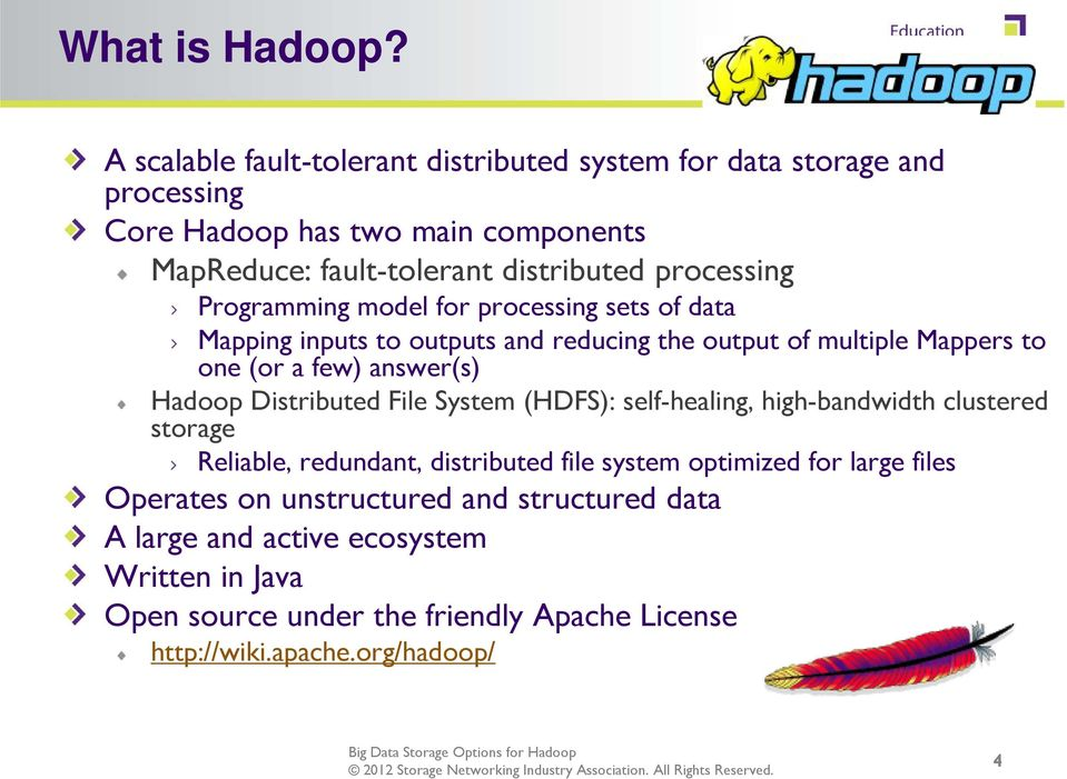 Programming model for processing sets of data Mapping inputs to outputs and reducing the output of multiple Mappers to one (or a few) answer(s) Hadoop