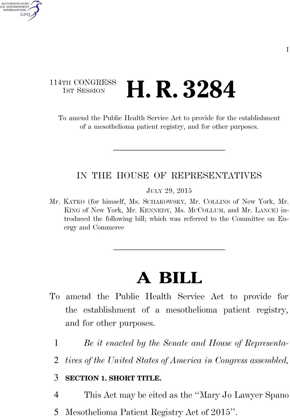 LANCE) introduced the following bill; which was referred to the Committee on Energy and Commerce A BILL To amend the Public Health Service Act to provide for the establishment of a mesothelioma
