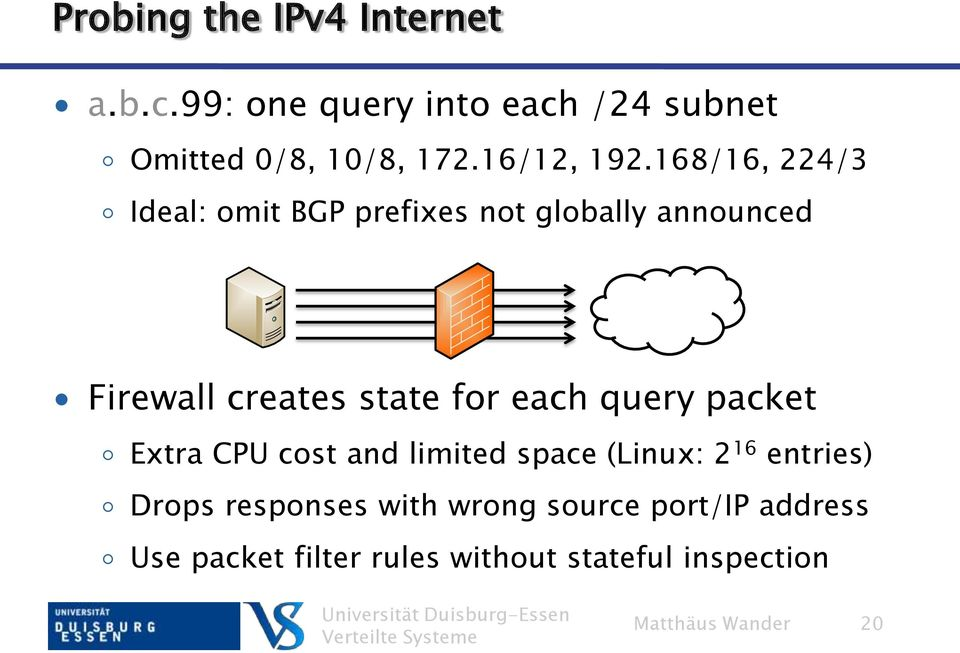 168/16, 224/3 Ideal: omit BGP prefixes not globally announced Firewall creates state for each