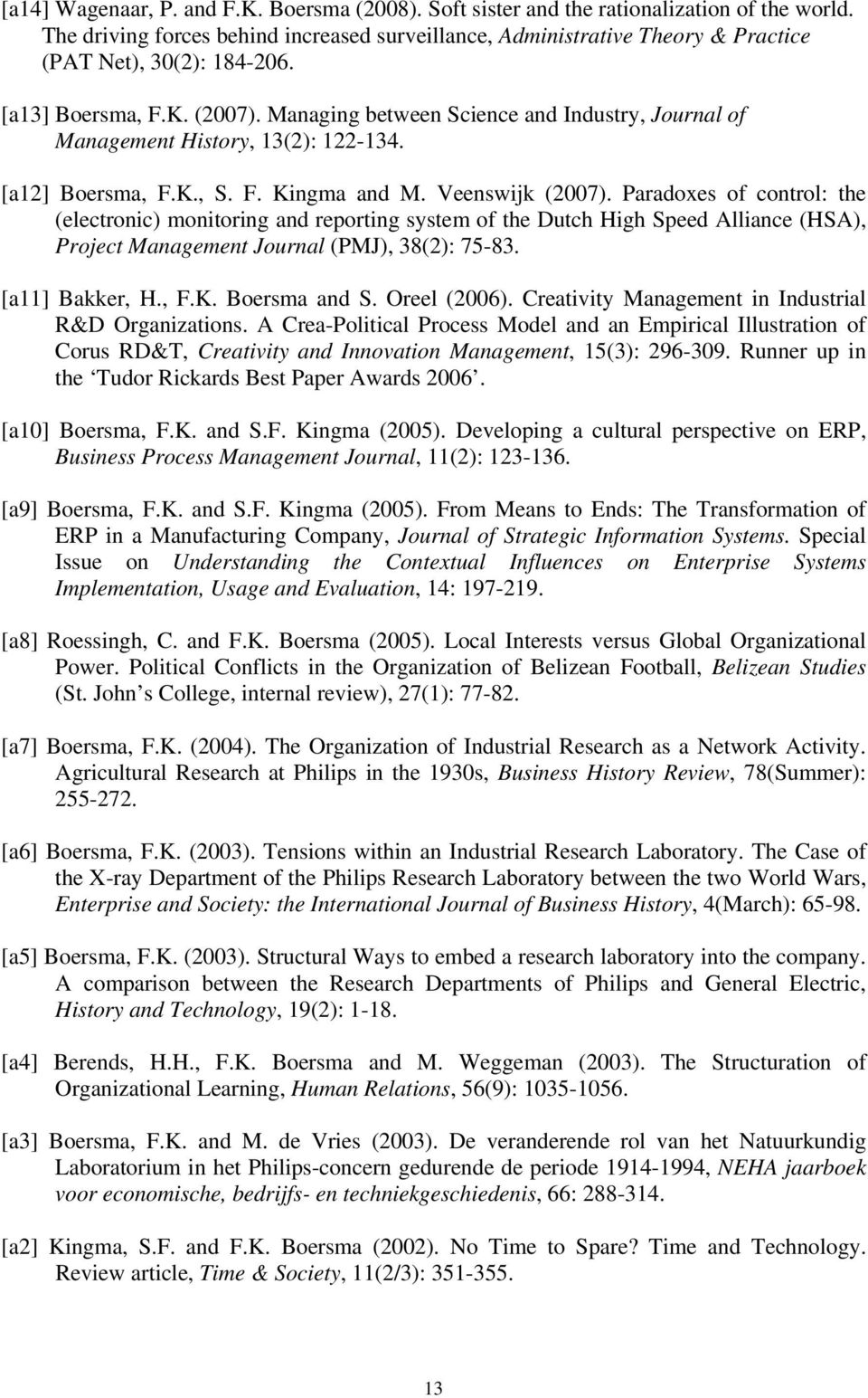 Managing between Science and Industry, Journal of Management History, 13(2): 122-134. [a12] Boersma, F.K., S. F. Kingma and M. Veenswijk (2007).