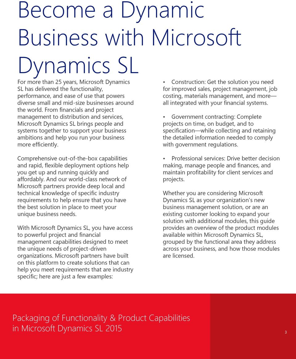 From financials and project management to distribution and services, Microsoft Dynamics SL brings people and systems together to support your business ambitions and help you run your business more