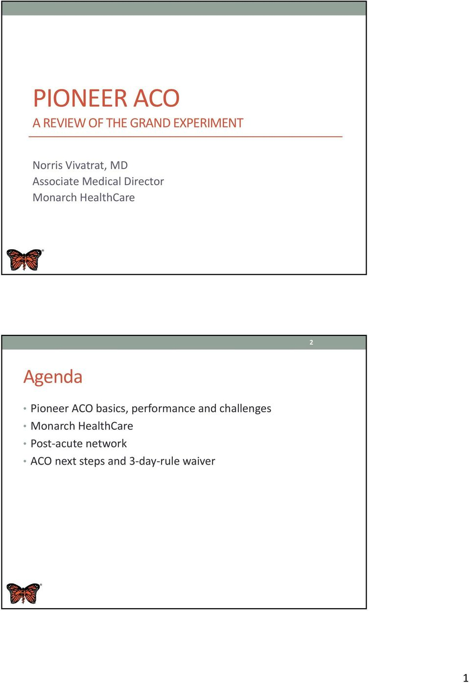 Agenda Pioneer ACO basics, performance and challenges