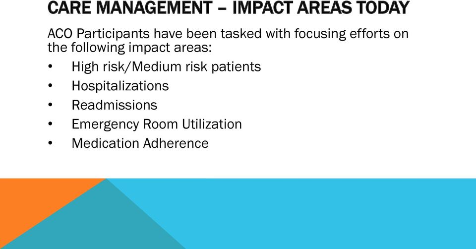 areas: High risk/medium risk patients Hospitalizations