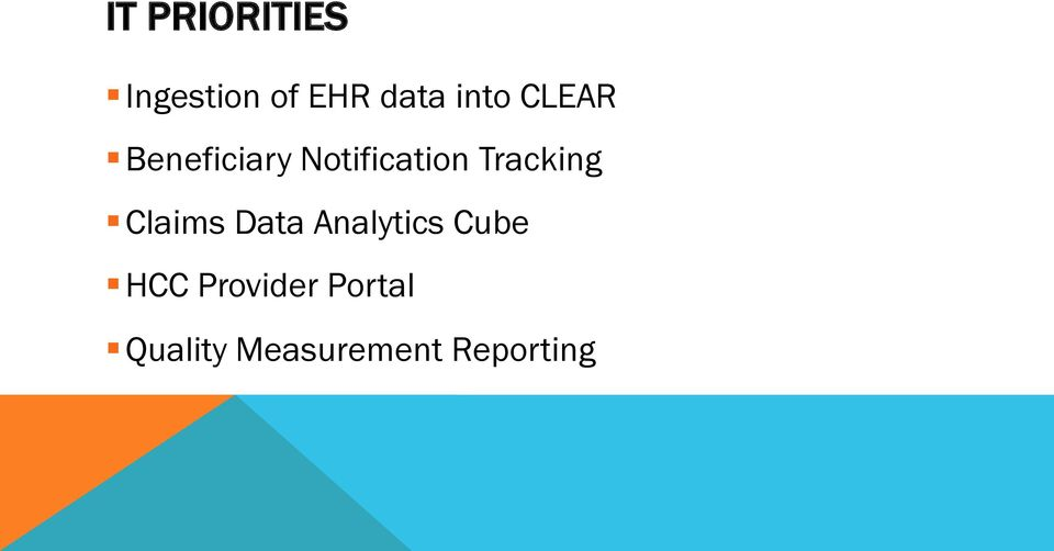 Tracking Claims Data Analytics Cube HCC