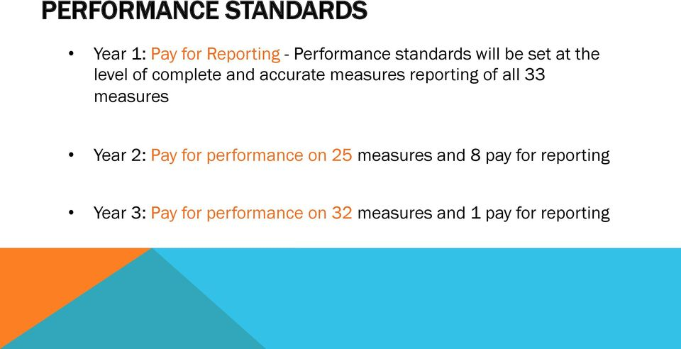 all 33 measures Year 2: Pay for performance on 25 measures and 8 pay for