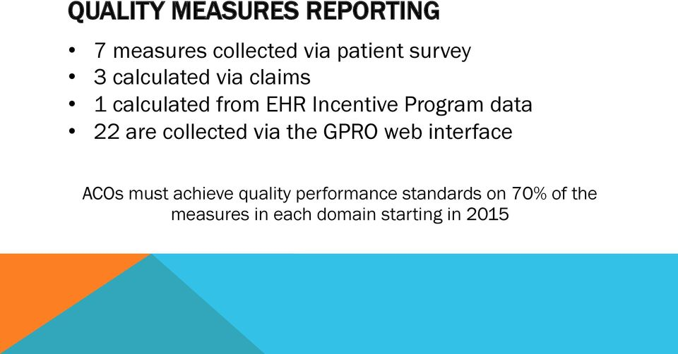 are collected via the GPRO web interface ACOs must achieve quality