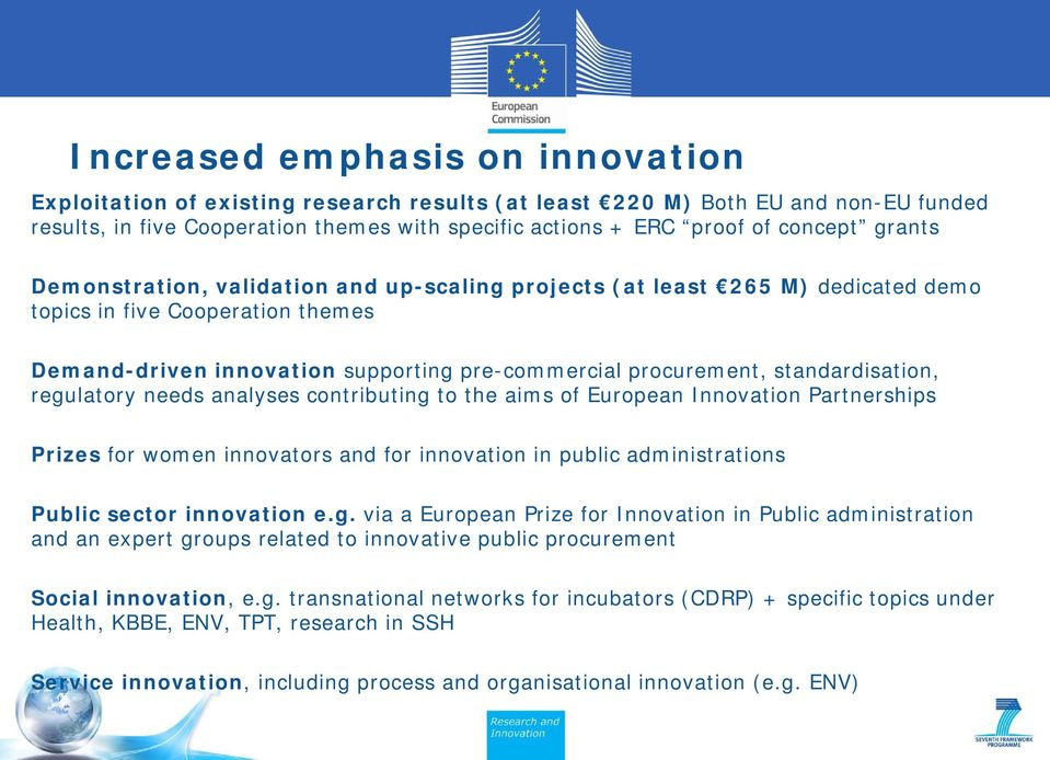 standardisation, regulatory needs analyses contributing to the aims of European Innovation Partnerships Prizes for women innovators and for innovation in public administrations Public sector