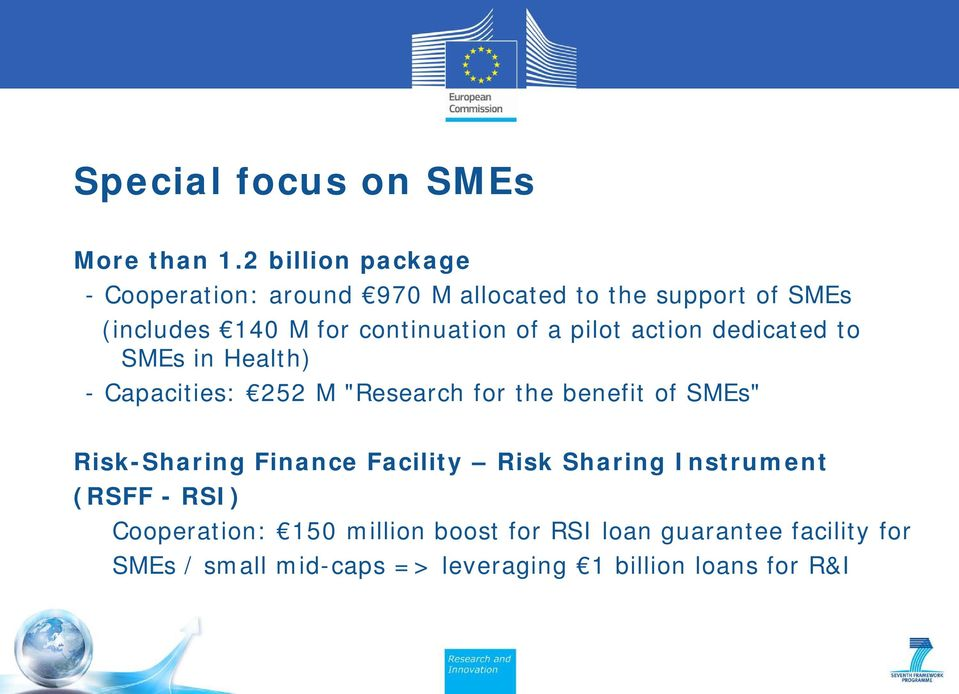 "continuation of a pilot action dedicated to SMEs in Health) - Capacities: 252 M ""Research for the benefit of"