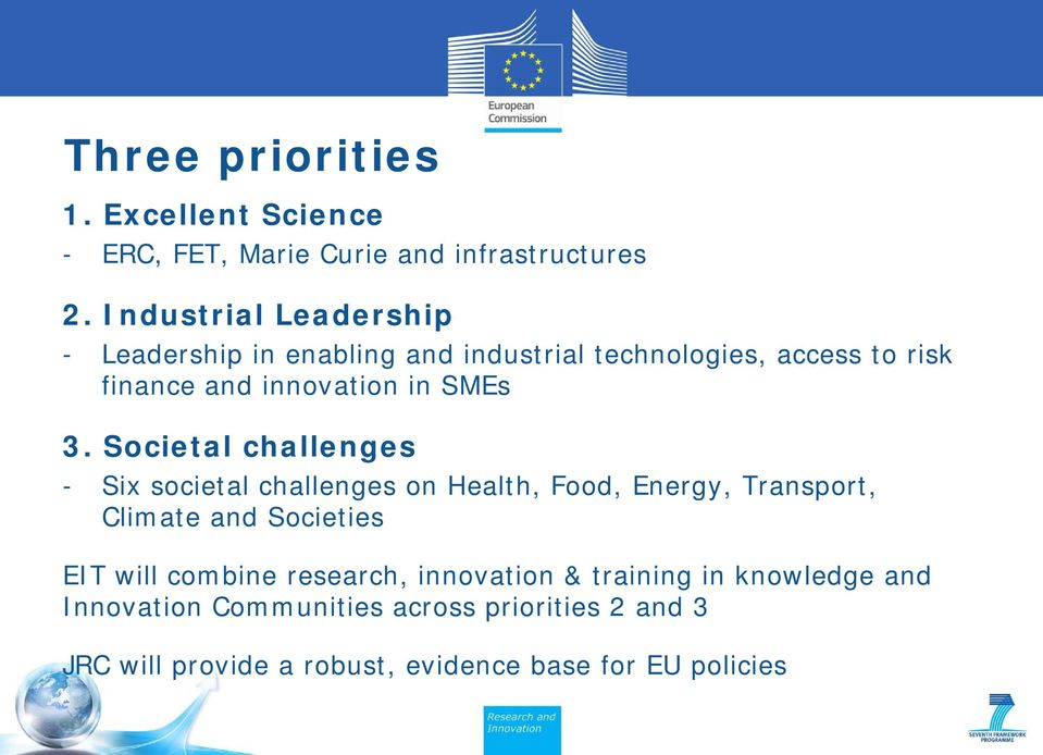 3. Societal challenges - Six societal challenges on Health, Food, Energy, Transport, Climate and Societies EIT will