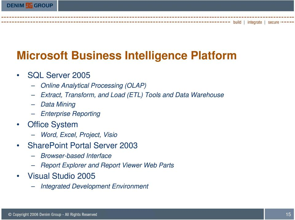 Office System Word, Excel, Project, Visio SharePoint Portal Server 2003 Browser-based Interface