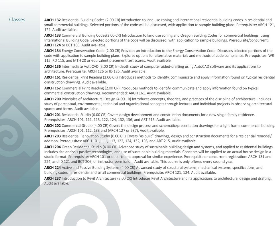 00 CR) Introduction to land use zoning and Oregon Building Codes for commercial buildings, using International Building Code.