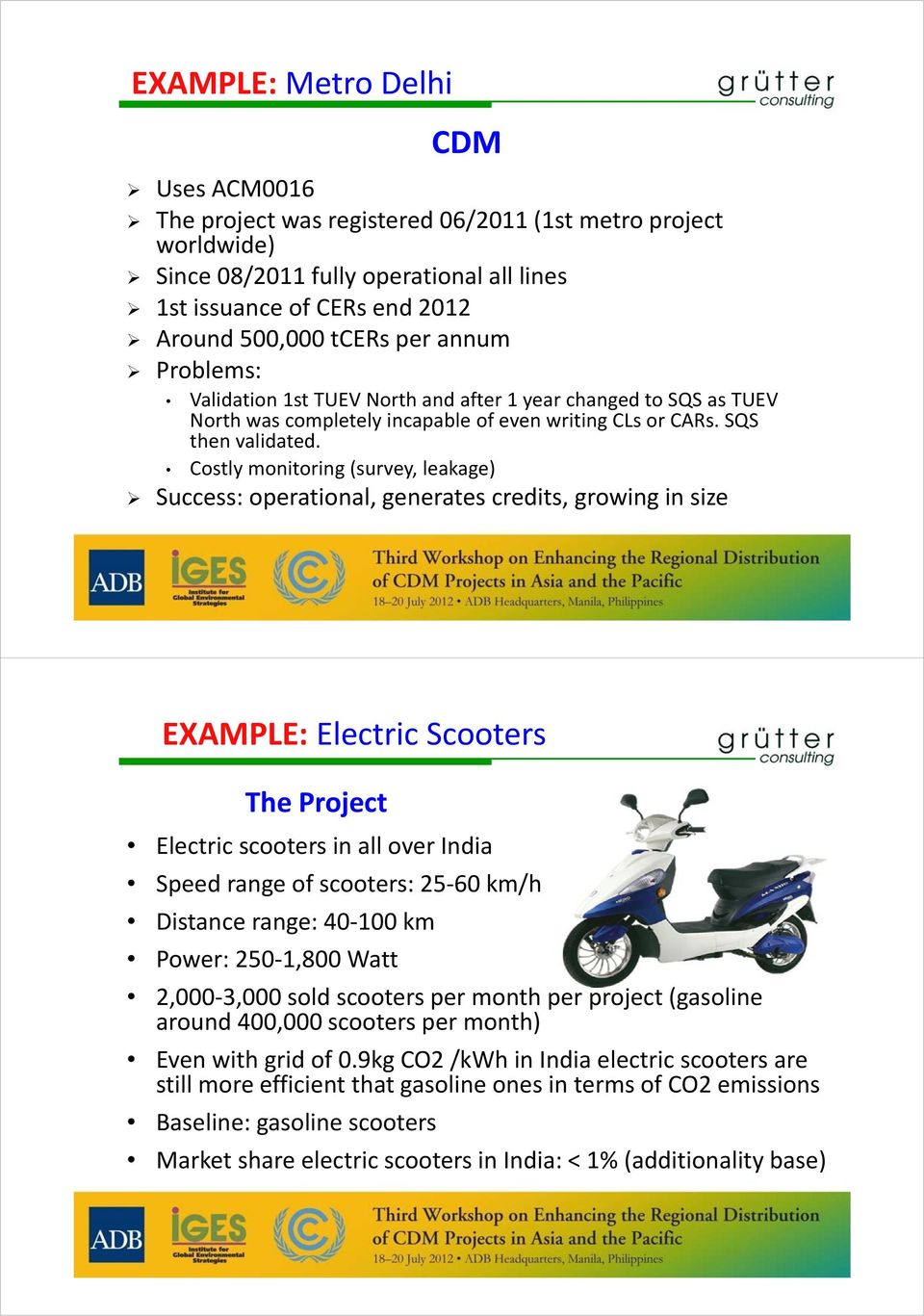 Costly monitoring (survey, leakage) Success: operational, generates credits, growing in size EXAMPLE: Electric Scooters The Project Electric scooters in all over India Speed range of scooters: 25 60