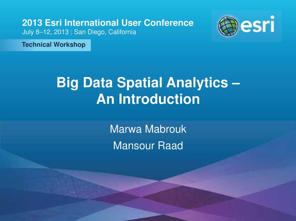 Data Spatial Analytics An Introduction Marwa