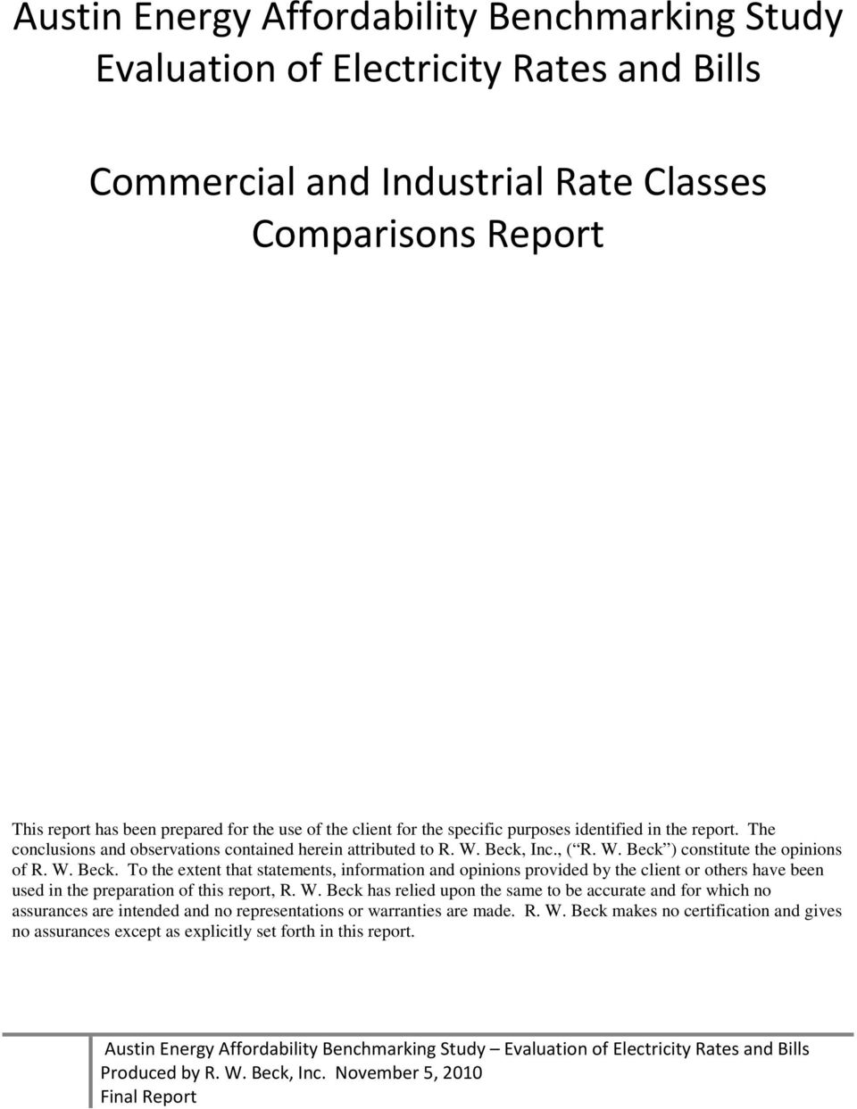 Commercial and Industrial Rate Classes Comparisons Final