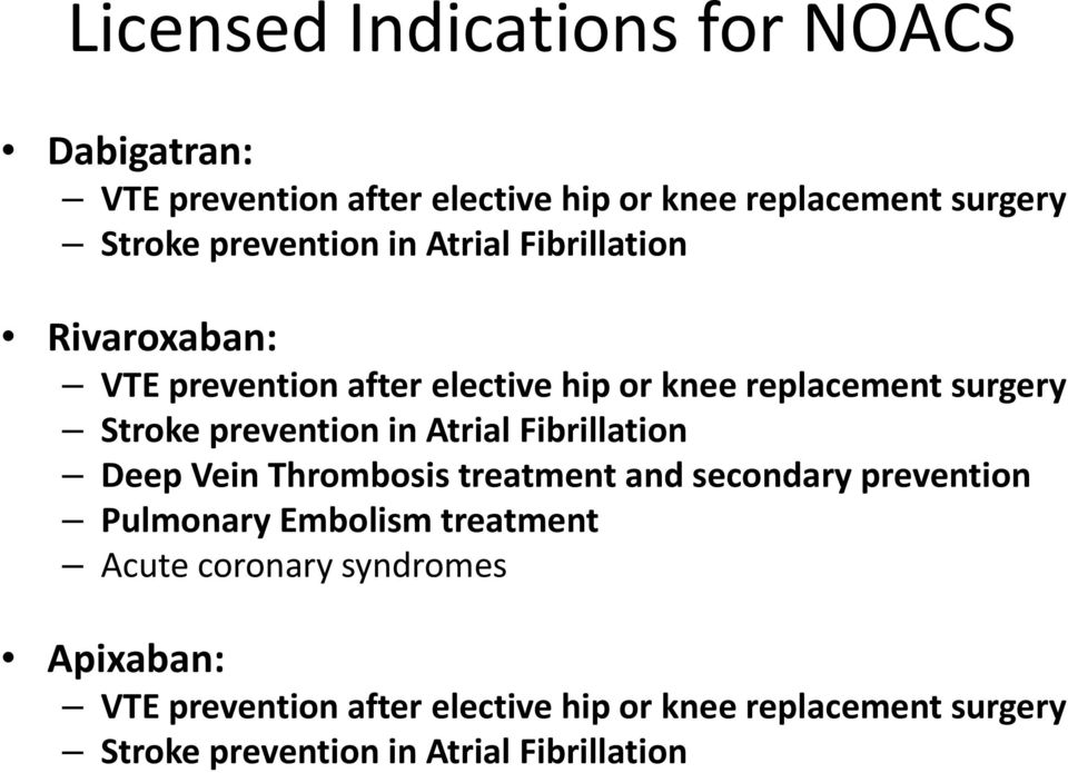 prevention in Atrial Fibrillation Deep Vein Thrombosis treatment and secondary prevention Pulmonary Embolism treatment