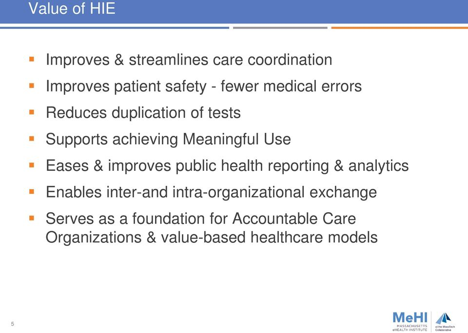improves public health reporting & analytics Enables inter-and intra-organizational