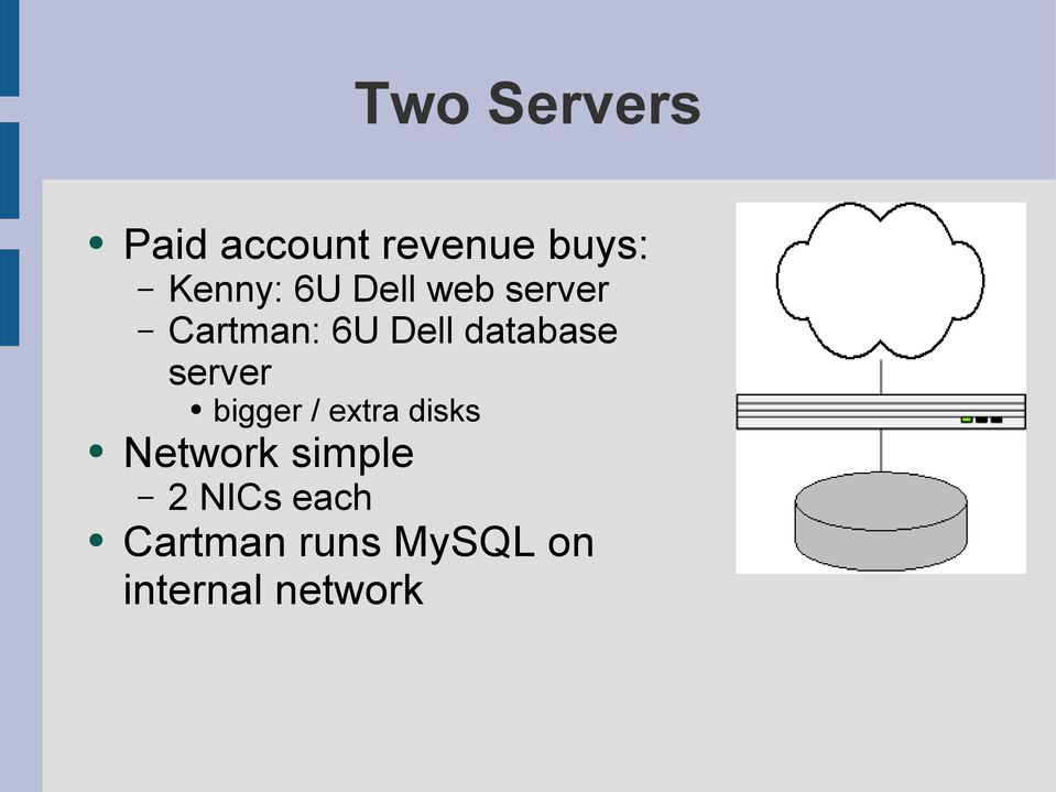 server bigger / extra disks Network simple 2