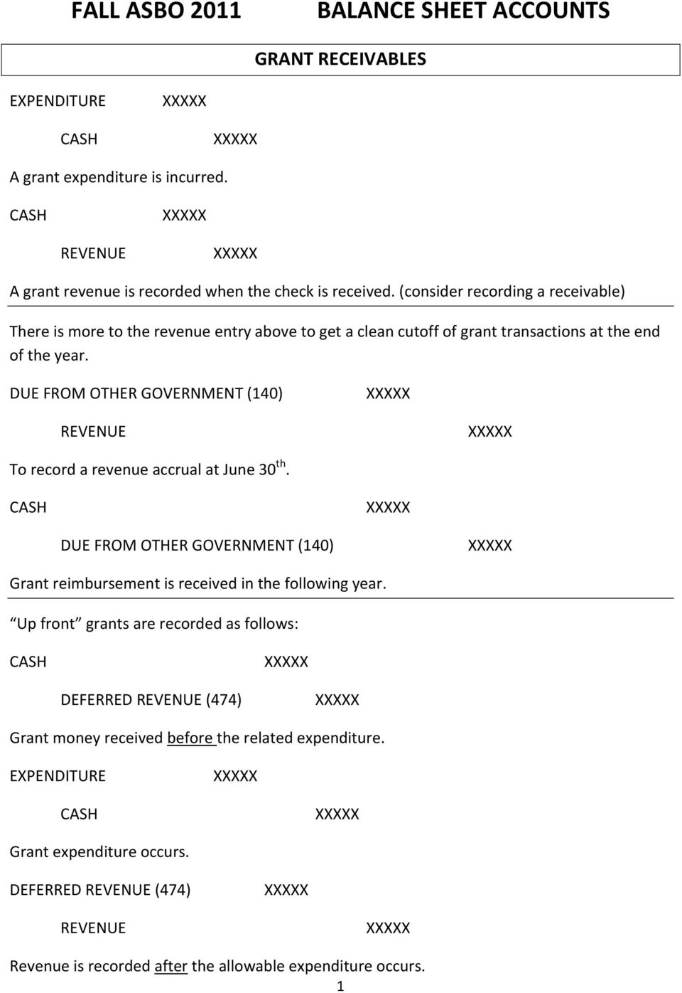 DUE FROM OTHER GOVERNMENT (140) REVENUE To record a revenue accrual at June 30 th. DUE FROM OTHER GOVERNMENT (140) Grant reimbursement is received in the following year.