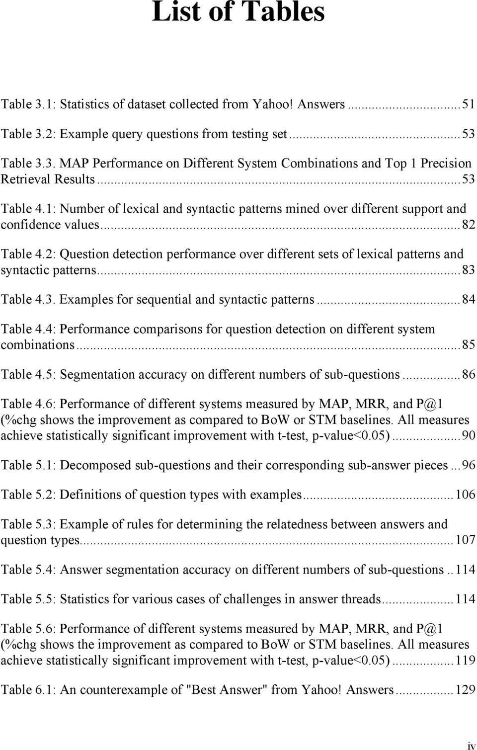2: Question detection performance over different sets of lexical patterns and syntactic patterns... 83 Table 4.3. Examples for sequential and syntactic patterns... 84 Table 4.