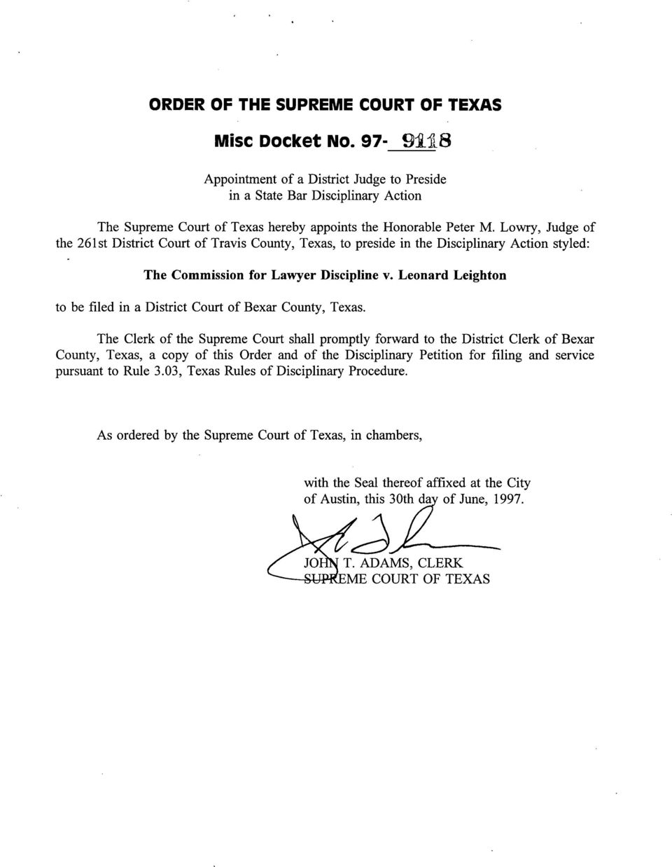 Leonard Leighton to be filed in a District Court of Bexar County, Texas.