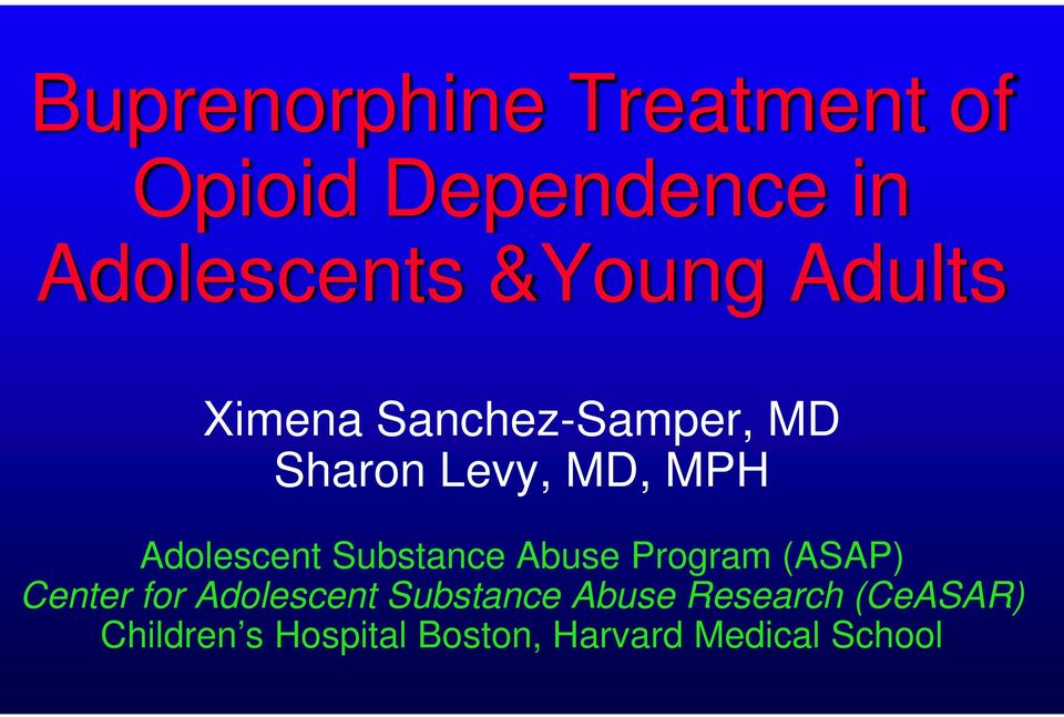 Substance Abuse Program (ASAP) Center for Adolescent Substance