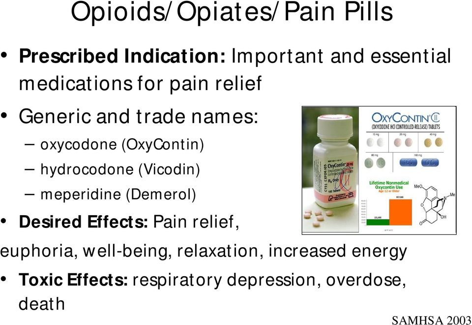 hydrocodone (Vicodin) meperidine (Demerol) Desired Effects: Pain relief, euphoria,