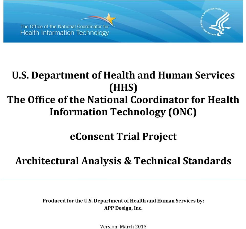 Trial Project Architectural Analysis & Technical Standards Produced for