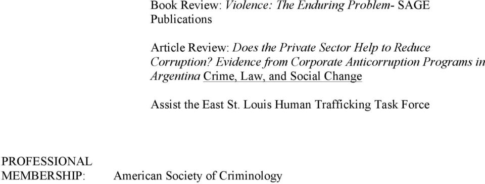 Evidence from Corporate Anticorruption Programs in Argentina Crime, Law, and