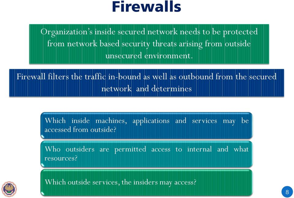 Firewall filters the traffic in-bound as well as outbound from the secured network and determines Which inside