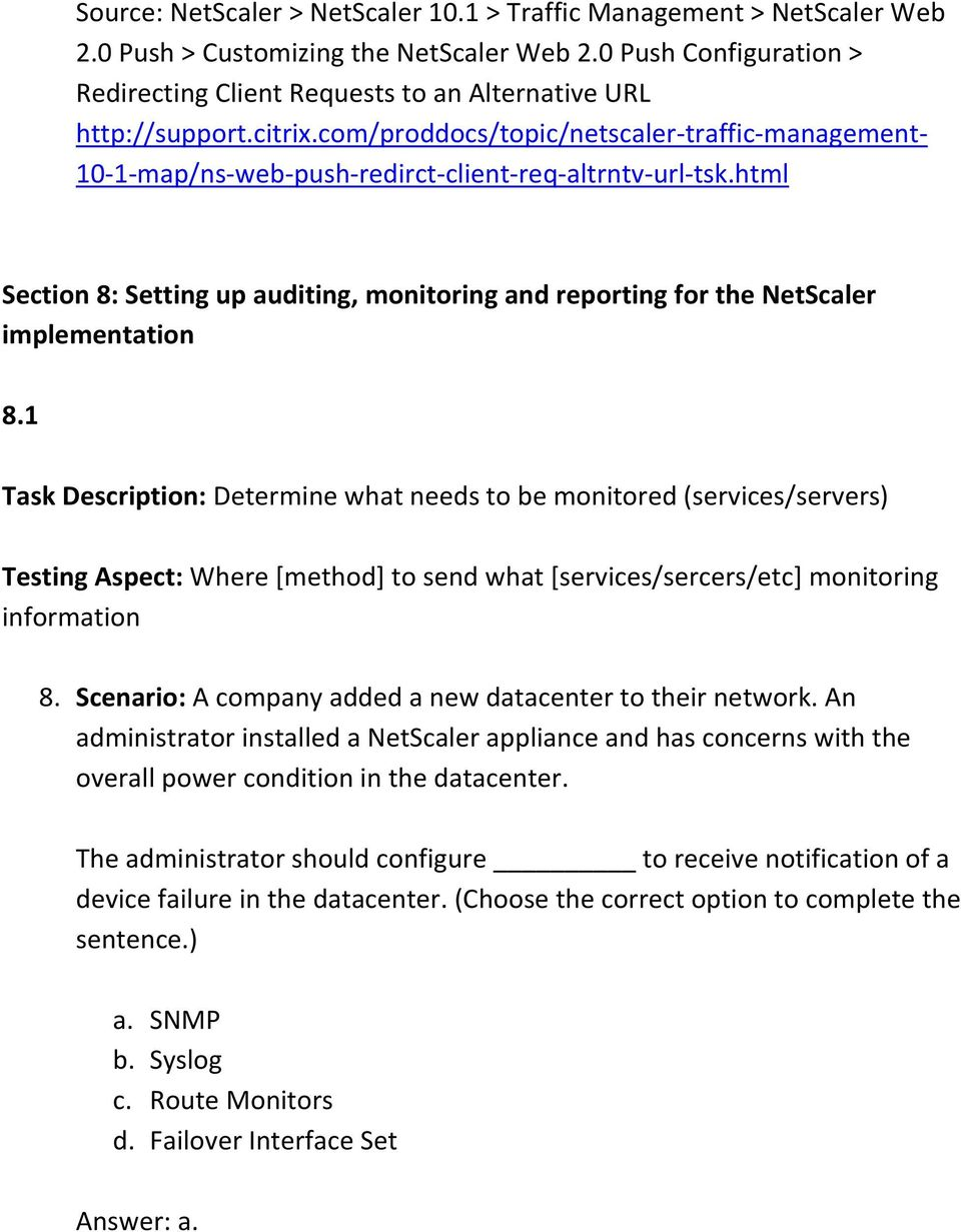 html Section 8: Setting up auditing, monitoring and reporting for the NetScaler implementation 8.