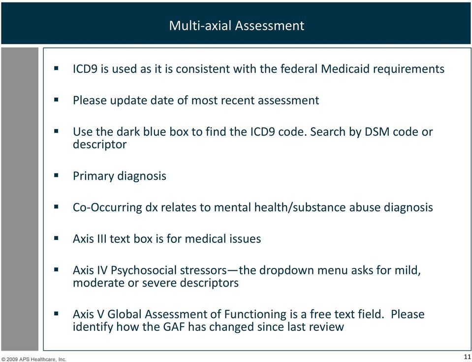 Search by DSM code or descriptor Primary diagnosis Co-Occurring dx relates to mental health/substance abuse diagnosis Axis III text box is
