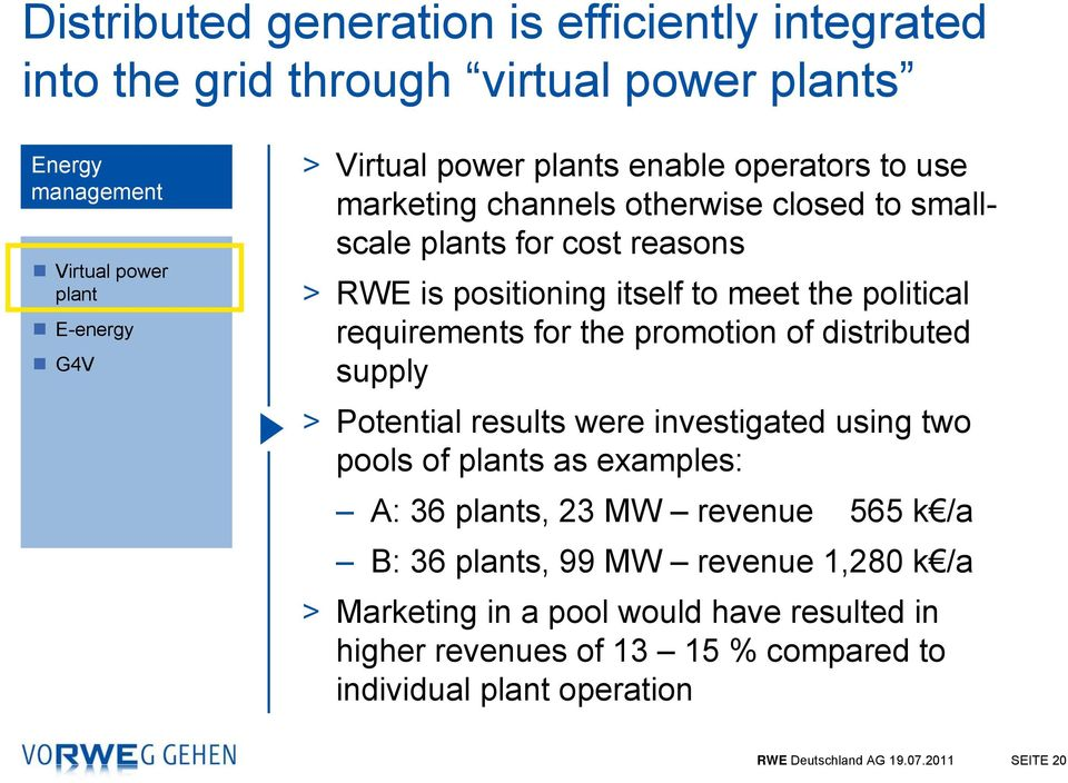 promotion of distributed supply > Potential results were investigated using two pools of plants as examples: A: 36 plants, 23 MW revenue 565 k /a B: 36 plants, 99