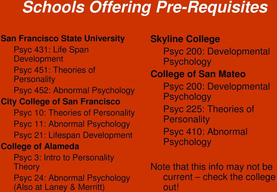 Psyc 3: Intro to Personality Theory Psyc 24: Abnormal Psychology (Also at Laney & Merritt) Skyline College Psyc 200: Developmental Psychology College of