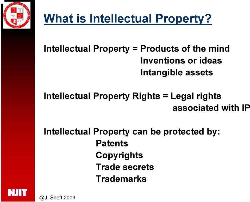 Intangible assets Intellectual Property Rights = Legal rights