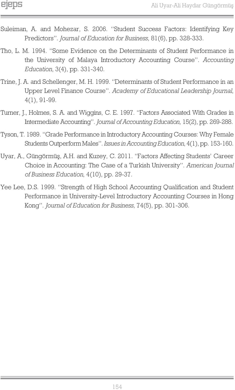 Determinants of Student Performance in an Upper Level Finance Course. Academy of Educational Leadership Journal, 4(1), 91-99. Turner, J., Holmes, S. A. and Wiggins, C. E. 1997.