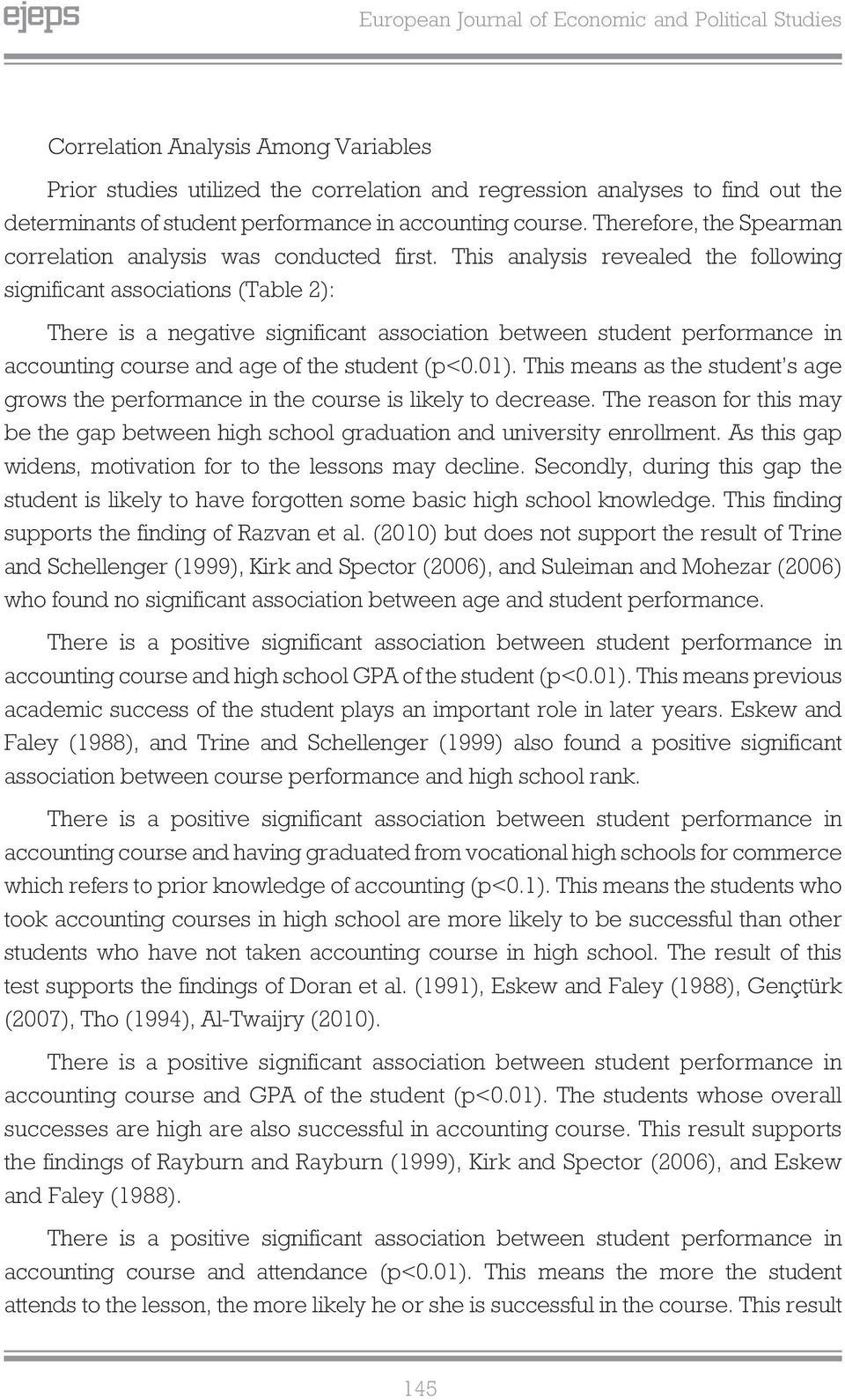 This analysis revealed the following significant associations (Table 2): There is a negative significant association between student performance in accounting course and age of the student (p<0.01).