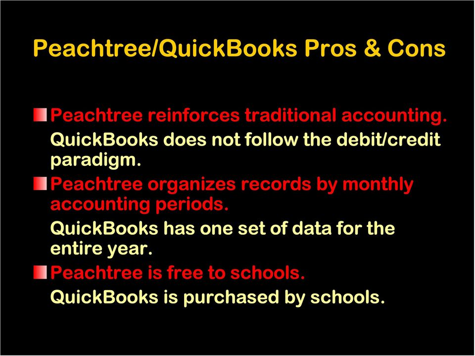 Peachtree organizes records by monthly accounting periods.