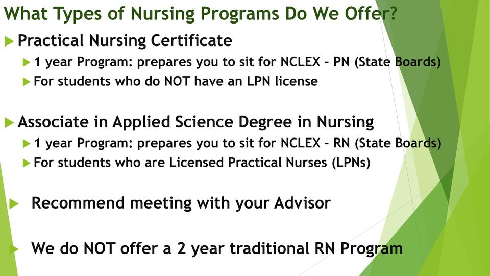 who do NOT have an LPN license Associate in Applied Science Degree in Nursing 1 year Program: prepares you
