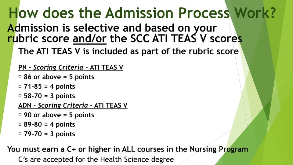 part of the rubric score PN - Scoring Criteria - ATI TEAS V 86 or above = 5 points 71-85 = 4 points 58-70 = 3 points